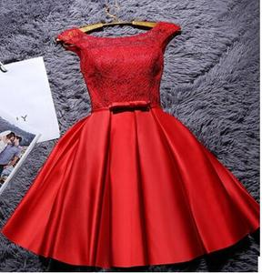 Image 5 - 2020 Sweet Memory Satin Lace Wine Red Short White Evening Dresses Homecoming Graduation Dresses Robe Gray Party Formal Dress
