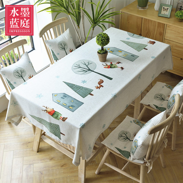 Simple Modern Literature Pastoral Small Fresh New Nordic Cartoon Tablecloth  Coffee Table Cloth Table Cloth