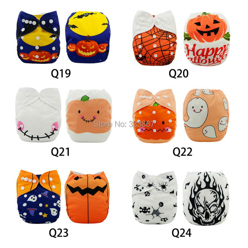 1 new design halloween pumpkin ghost jack baby infant pocket cloth diaper1 diaper 1 insertnappyreusable adjustablewashable in baby nappies from mother