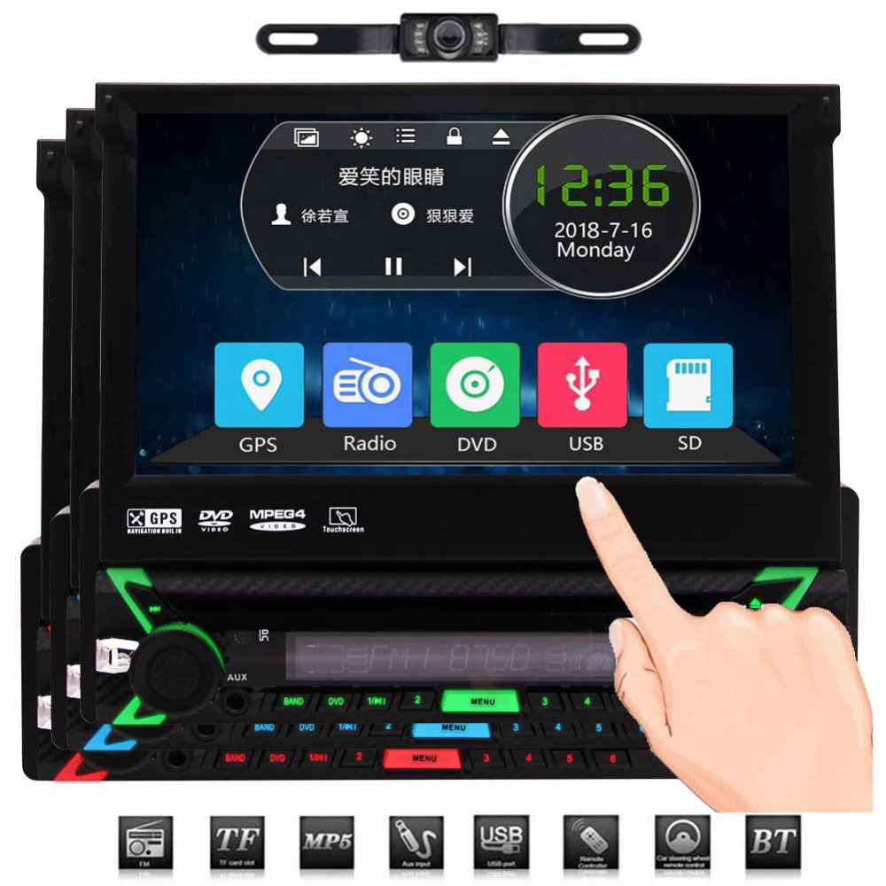 Autoradio 1din avec carte GPS de 8 go, Navigation GPS Headunit, Autoradio Bluetooth à écran tactile de 7 pouces, récepteur FM RDS