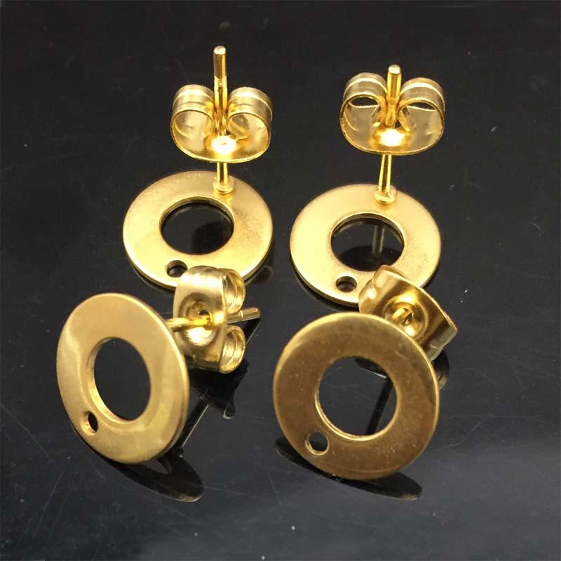 18K Solid Gold Ear Pin Stud Post Findings Jewelry Pins Earrings Making DIY