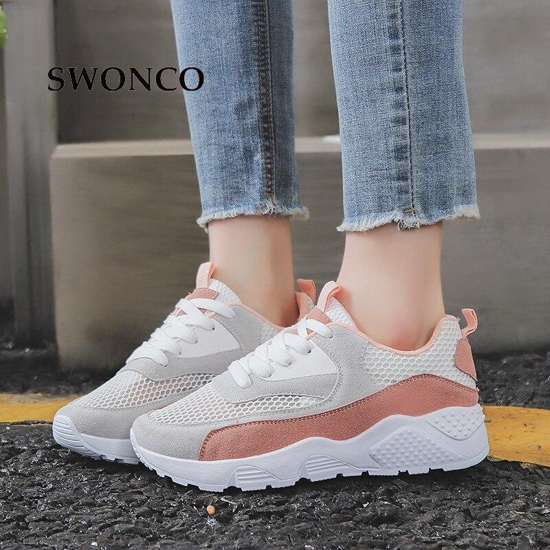 582f3a175 SWONCO Vulcanize Sapatos Primavera Verão Malha Casual Menina das Mulheres  Das Sapatilhas Das Mulheres Sapatos Flats Tênis de Couro Grosso Sole Sapata  Das ...