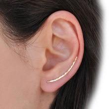 Pendientes Piercing de Plata de Ley 925 para mujer, joyería hecha a mano, con relleno de oro martillado