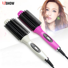 USHOW Hot Sale Curling Hair Straightener Hair Comb Professional Fast PTC Heating Electric Hair Straightening brush Styling Tools(China)