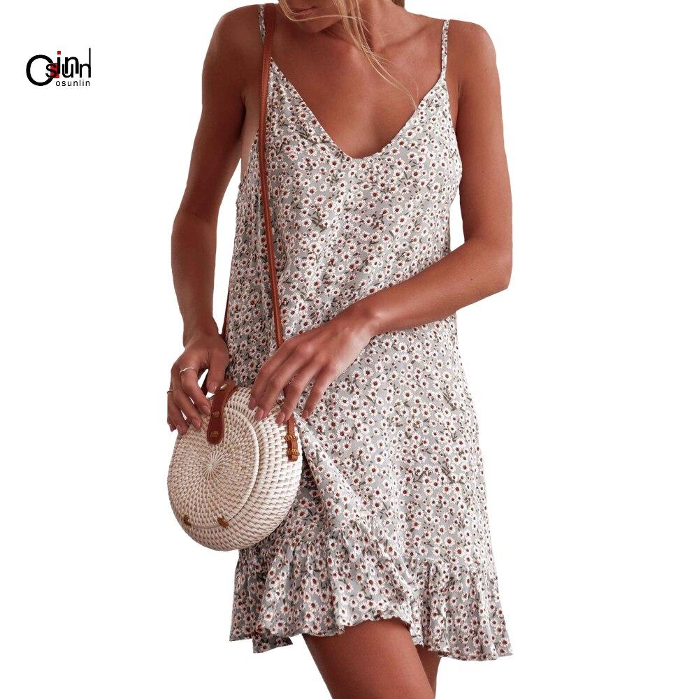UK Womens Holiday Deep V Neck Slip Sun Dress Beach Floral Boho Swing Mini Dress