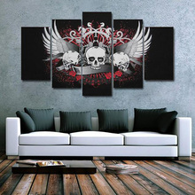 Framework Living Room HD Printed Modern Painting 5 Panel Cool Skull Modular Decoration Posters Picture On Canvas Wall Art Home