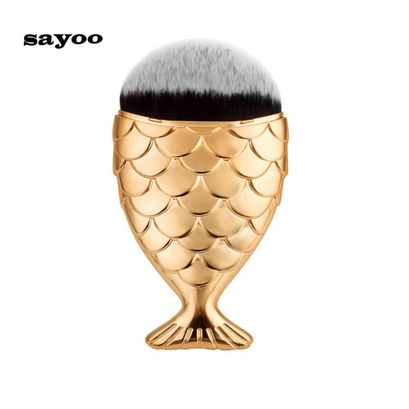 Sayoo Makeup Cosmetic Brushes Set Powder Foundation Mermaid 5 Color Brush Tool