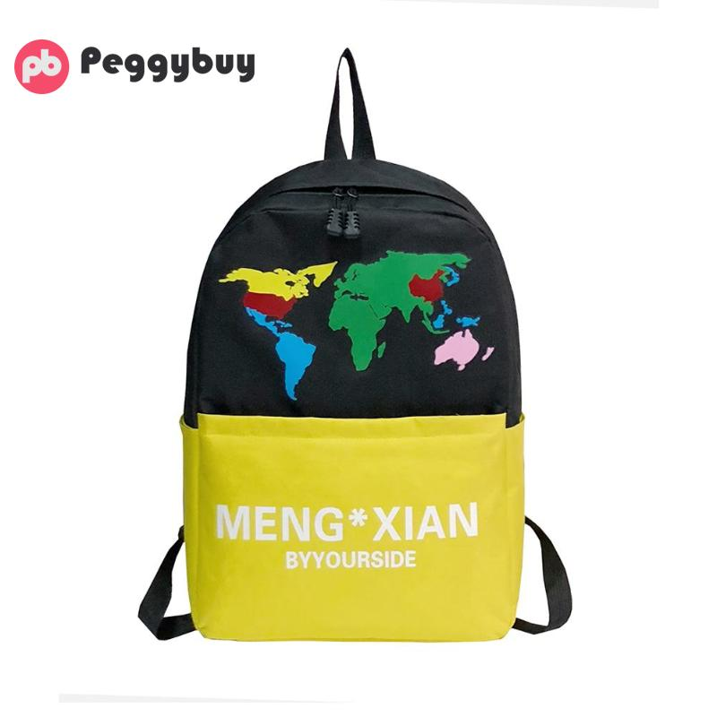 Color Backpack School-Bags Canvas Travel Large-Capacity Nylon Unisex Hit Printing Cute