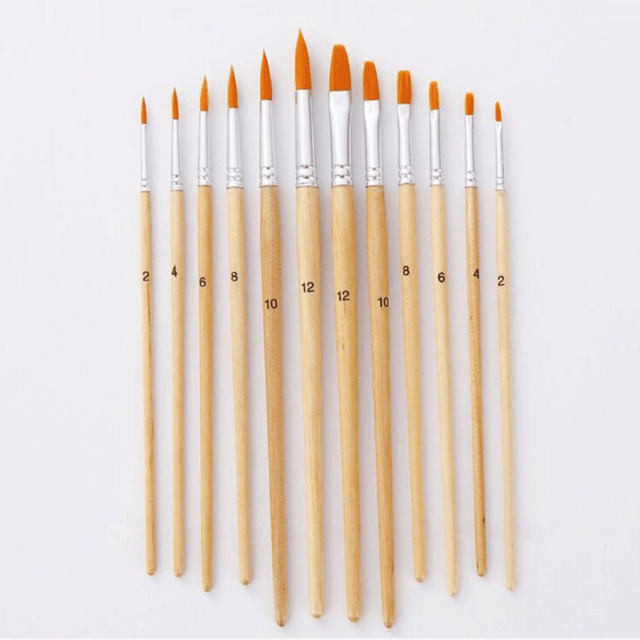12Pcs/Lot Paint Brush Different Size Log color Nylon Hair Oil Painting Brushes Set for Watercolor Acrylic Drawing Art Supplie 1