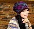 1 Pcs 2014 Novo Inverno Quente Tampão Feito Malha Moda Feminina Grade Adicionar Lã Chapéu 3 Cores Frete Grátis