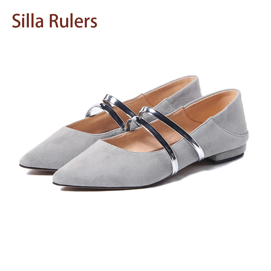 Silla Rulers Fashion Suede Leather Pointed Toe Flats Shoes Sweet Shallow Mouth Ballet Women Shoes Casual Princess Comfort Shoes fashion pointed toe women shoes solid patent pu brand shoes women flats summer style ballet princess shoes for casual crystal