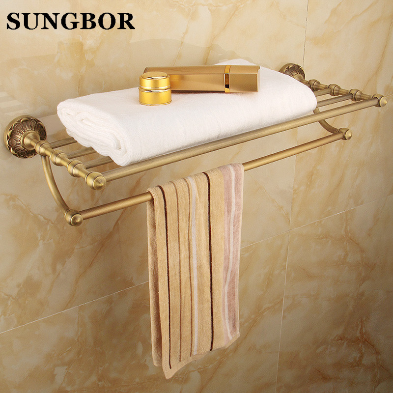 Whole brass towel rack Antique bathroom shelf Active bath towel rack bathroom towel holder Antique Double towel shelf ZL-8712F whole brass blackend antique ceramic bath towel rack bathroom towel shelf bathroom towel holder antique black double towel shelf
