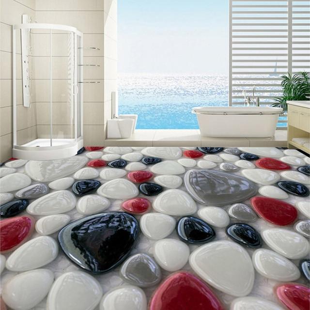 Beibehang Modern Style White Red Black Gray Cobblestone Murals Floor  Wallpaper For Bathroom 3D Room Wall
