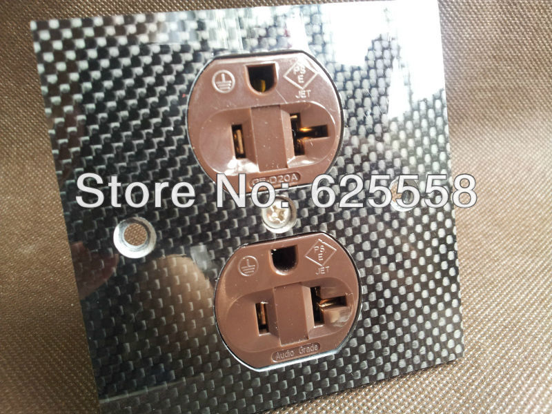 Gaofei US AC 20A power Receptacles red copper gold plated carbon panel outlet viborg rbl d20a red copper rhodium plated ac 20a power receptacles wall outlet