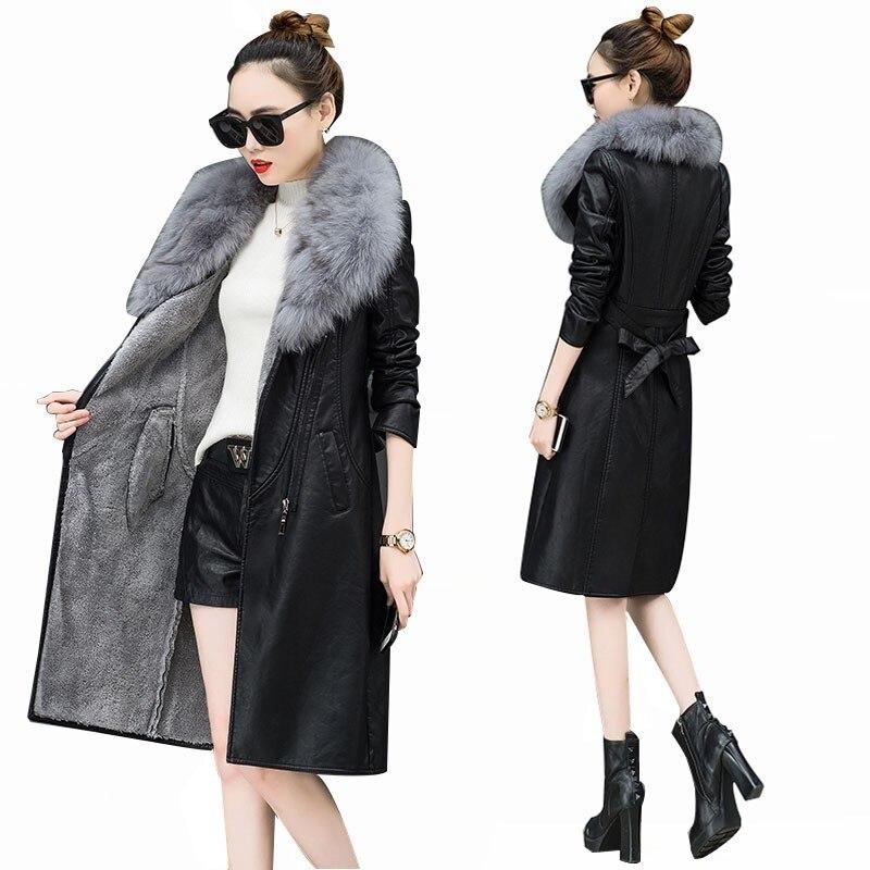 Winter thick Warm Big Fur collar Female   Leather   Jackets Women PU Female Overcoat Plus Size Slim Lapel Belt PU Locomotive PY23