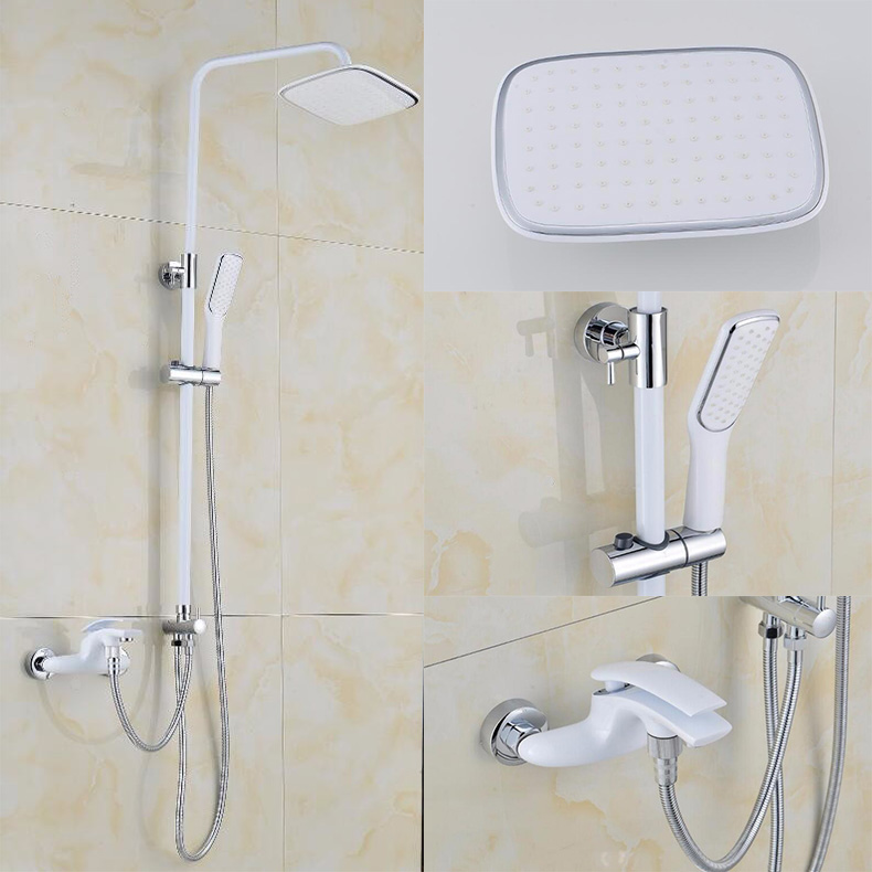 New high quality brass material chrome and white bathroom shower faucet set rainfall shower faucet set bath and shower faucet fashion high quality brass chrome thermostatic bathroom shower faucet constant temperature faucet mix water valve full copper