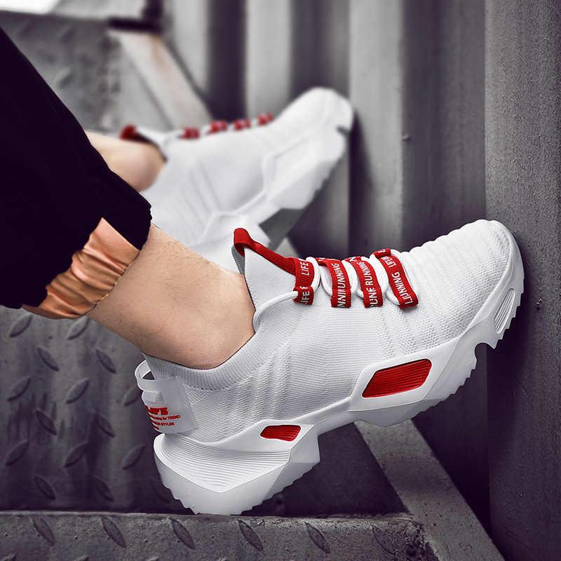 2019 Nieuwste Stijlvolle Vier Seizoenen Loopschoenen Voor Mannen Hoge Kwaliteit Witte Sneakers Lace-Up Lichtgewicht Ademend Wandelschoenen
