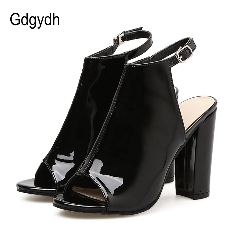 Gdgydh 2018 Spring Autumn Women Pumps Peep Toe Platform Thick High Heels Women Summer Shoes For Party Patent Leather Size 40 women shoes pumps 2016 spring and summer new patent leather bow peep toe women sandals platform high heels shoes zapatos mujer