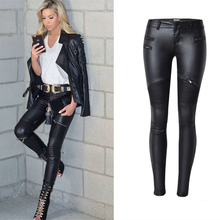 Faux Leather Elastic Woman Pants
