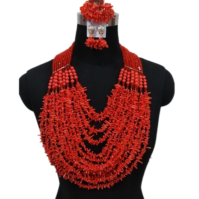 HTB1bYXnbtjvK1RjSspiq6AEqXXac Luxury Wedding Jewelry Sets African Beads Necklace Earring Sets for Women Orange Coral Nigerian Jewellery Set Free Shipping 2019