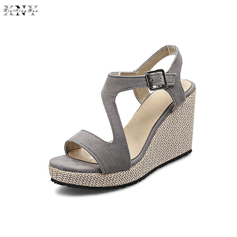 Plus Size(30-43) 2017 Summer Shoes Women Genuine Leather Wedges Sandals Casual Platform Ladies Sandals Zapatos Mujer Superstar phyanic 2017 gladiator sandals gold silver shoes woman summer platform wedges glitters creepers casual women shoes phy3323