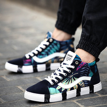Fashion Men Canvas Shoes High Top Printed Thick Soled Plain Shoes Lace Up Casual Shoes Plimsolls Zapatillas Deportivas XK121411