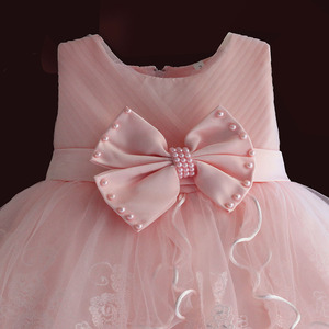 Image 3 - Brand New Baby Girl Dresses Pink White Pearl Bow Party Pageant Dress Little Kids Children Dress for Party Wedding Size 6M 4T