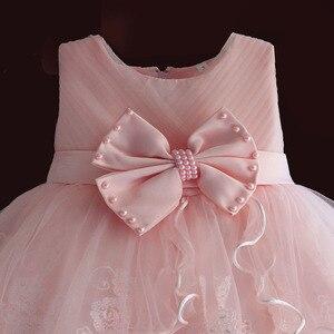 Image 3 - Marke Neue Baby Mädchen Kleider Rosa Weiß Perle Bogen Party Pageant Kleid Kleine Kinder Kinder Kleid für Party Hochzeit Größe 6 M 4 T