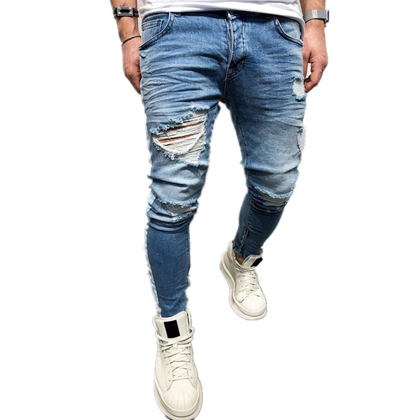 New 2018 in Europe and the high street jeans man hole zipper foot trousers side printed stripe of cultivate morality mens