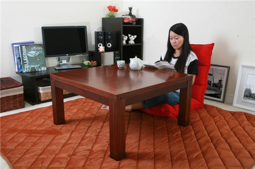 Living Room Floor Seating Furniture Walnut Color Square Type 80cm Low Coffee Kotatsu Foot Warmer Heated