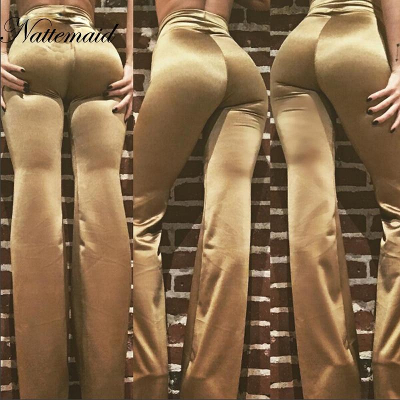 NATTEMAID 2017 Autumn Women Long   pants   high waist   Pants  &  Capris   Satin Trousers Women Classic Basic Straight Bottom