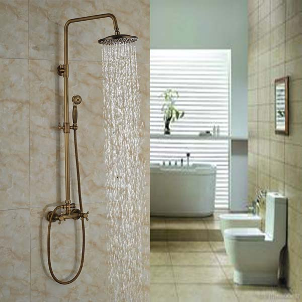 Two Handles Rain Shower Faucet Wall Mount Bathroom 8 Brass Shower Set Mixer Taps + Handshower bathroom chrome shower faucet set with thermostatic mixer valve wall mount 8 ultrathin rain showerhead handshower