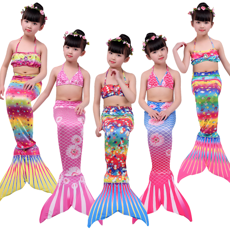 3 Pieces Girl's Mermaid Tails For Swimming Costume  With diamond Wrapped chest Cosplay  De Sirena Cauda De Sereia Cosplay