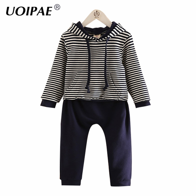 UOIPAE Kids Girls Clothing Set 2018 Casual Striped Children Sets Hooded T Shirt+Pants Solid Simple 2 Pcs Girls Clothes B0833 uoipae kids dress for girls winter 2018