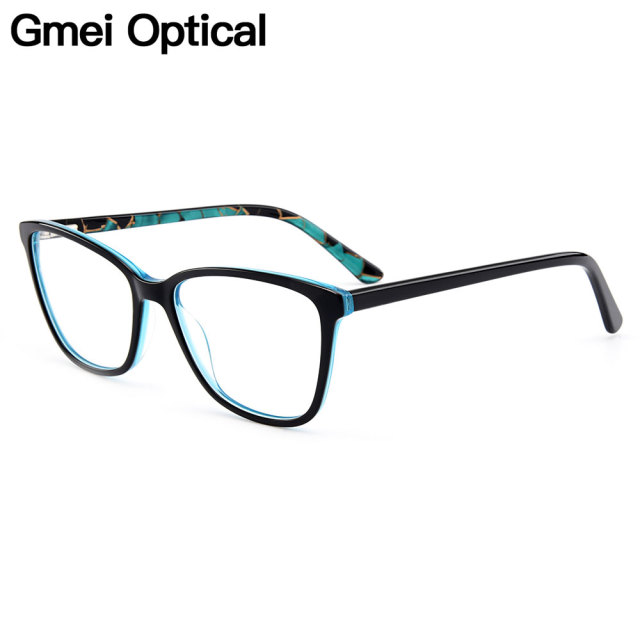 56eb7dabbd Gmei Optical New Modern Cat Eye Acetate Full Rim Optical Glasses Frames  Women Myopia Presbyopia Eyewear With Spring Hinges A1701