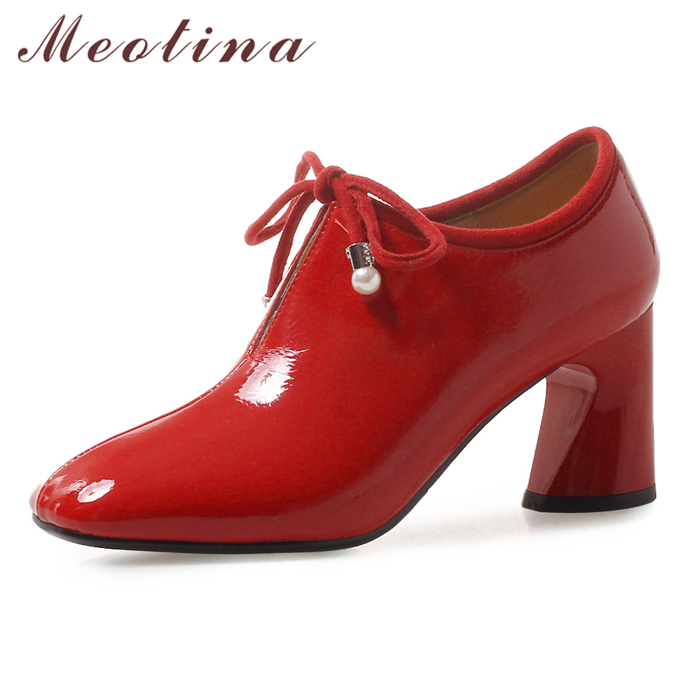 Meotina High Heels Women Pumps Patent Leather Thick High Heel Shoes Lace Up Square Toe Party