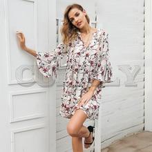 CUERLY Boho floral print v neck short dress women Hollow out flare sleeve loose summer dress 2019 Elegant beach dress