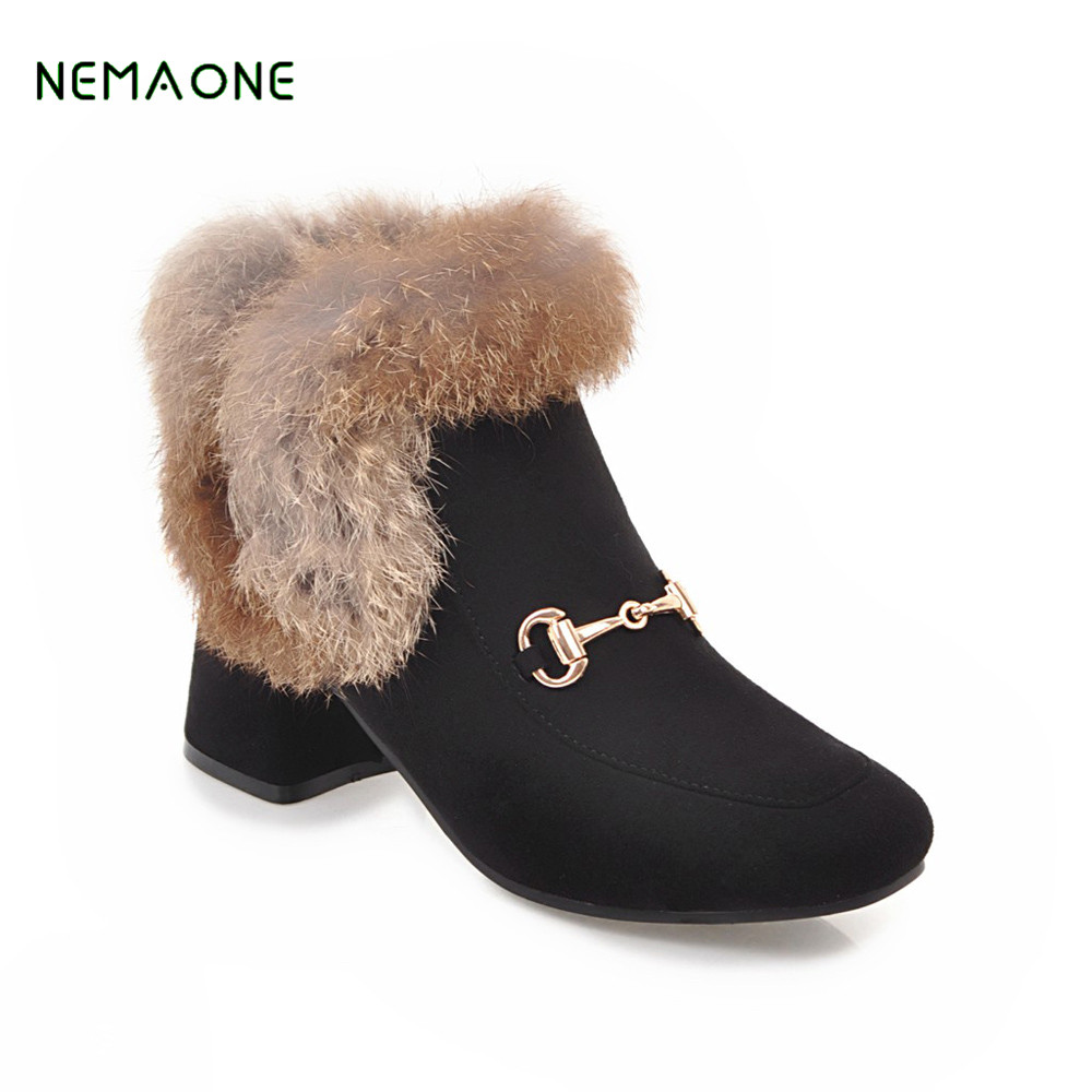 NEMAONE 2017 new Large size 34-43 winter shoes fashion punk snow boots woman flock zip solid ankle boots for women high heels morazora fashion punk shoes woman tassel flock zipper thin heels shoes ankle boots for women large size boots 34 43