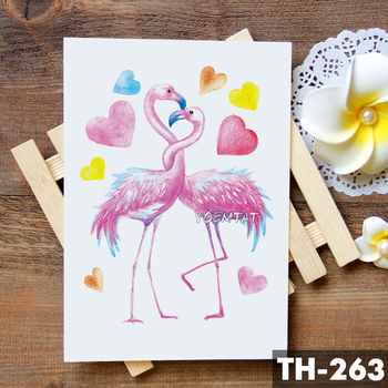 Swan flamingo Watercolor Temporary Tattoo Sticker Unicorn Fox Flowers Waterproof Tattoos Body Art Arm Fake Tatoo Women Girl 5