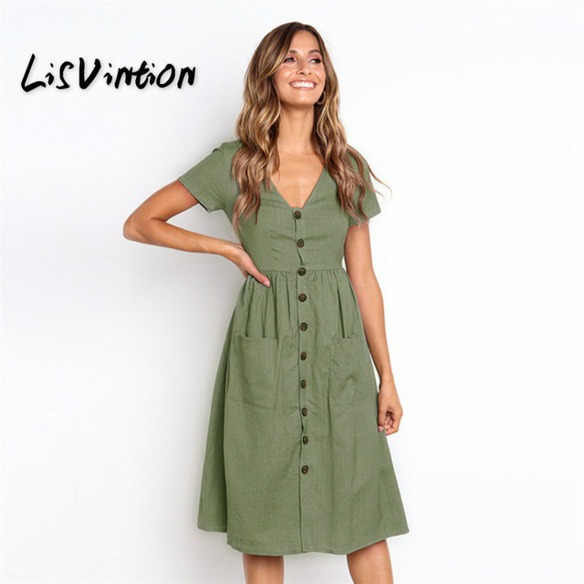 b83d9b61383c LisVintion Summer Dress Women s Fashion Summer Short Sleeve V Neck Button  Down Swing Midi Dress Loose Vintage Ladies Beach Dress