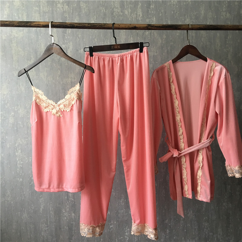 aaf31cdd73 Fiklyc brand autumn female three pieces pajamas sets fashion lace floral  velvet high quality nighties bathrobe + pyjamas sets-in Pajama Sets from  Underwear ...