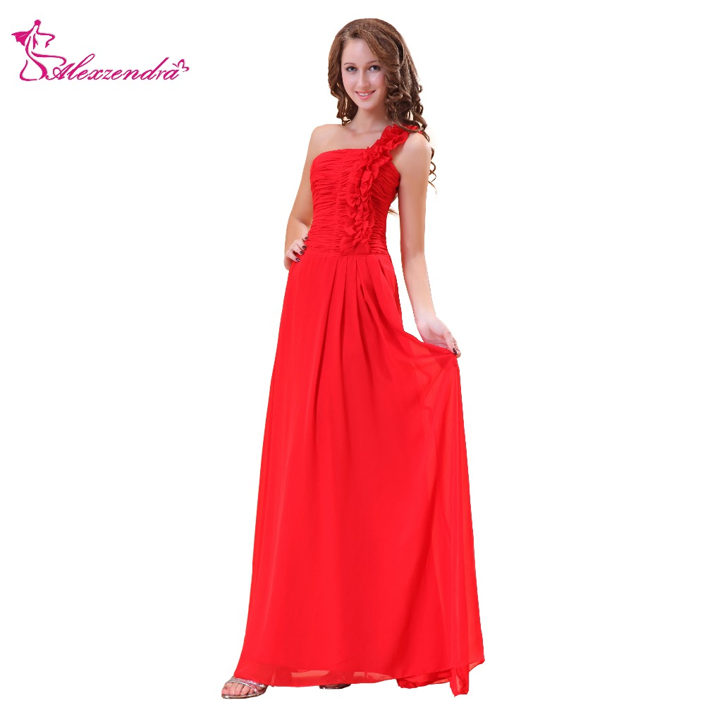 Alexzendra Red Chiffon One Shoulder A Line   Prom     Dresses   Simple Party   Dresses   Plus Size