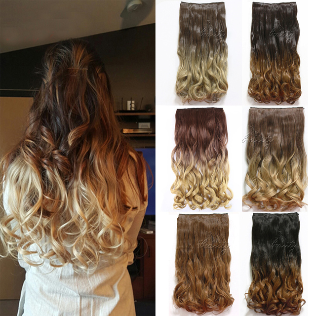 60cm Clip In Dip Dye Ombre Hair Extensions Curly Wavy 34 Full Head
