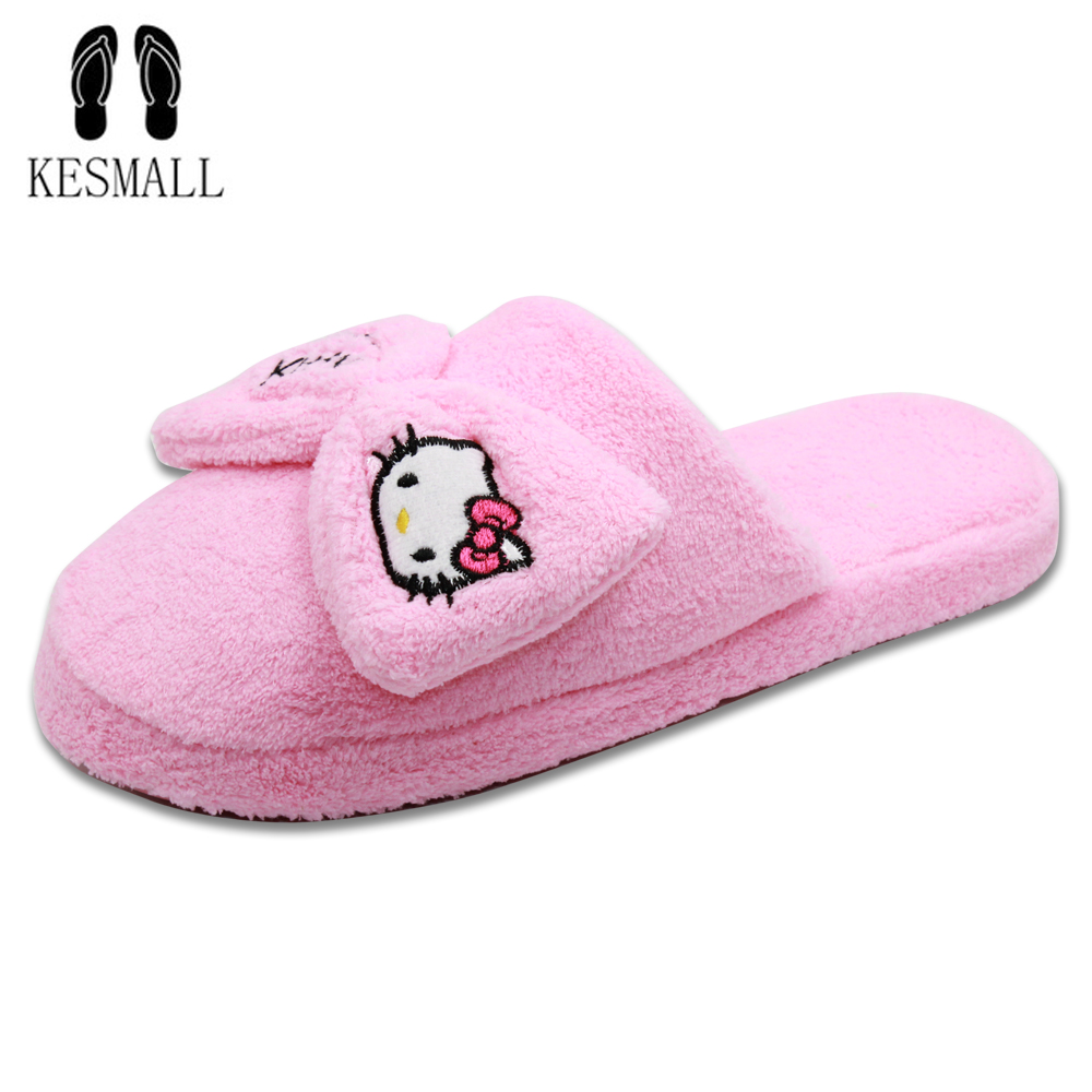 KESMALL New Arrival Women Cute Pig Home Floor Soft Stripe Slippers Female Comfortable Cotton-padded Warm Slippers Shoes WS325 kesmall soft plush cotton cute slippers shoes non slip floor indoor house home furry slippers women shoes for bedroom ws330