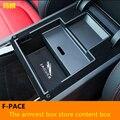 Interior del coche Cajas Apoyabrazos Central Apoyabrazos Box Car-styling Caja Contenta Caja de Tienda de Contenido Para F-PACE 2016