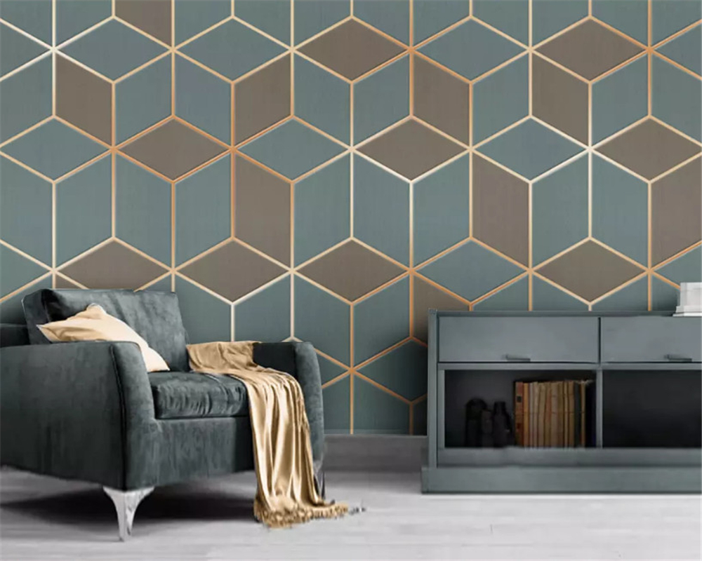 beibehang Custom fashion wallpaper geometric gold lines modern minimalistic luxury abstract background wall papers home decor