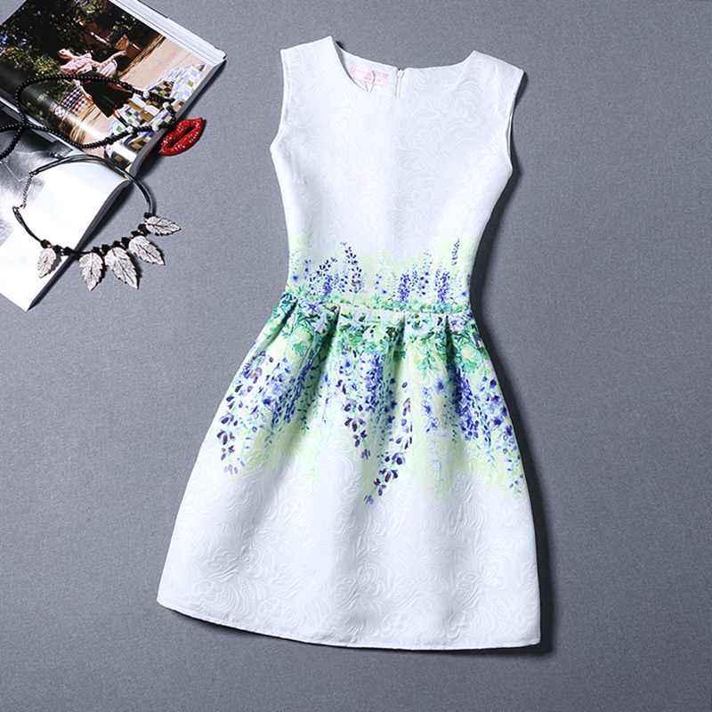 Summer New A-Line dress for Women teenagers print sleeveless Ladies princess party dress 12 - 20 years Women's dress