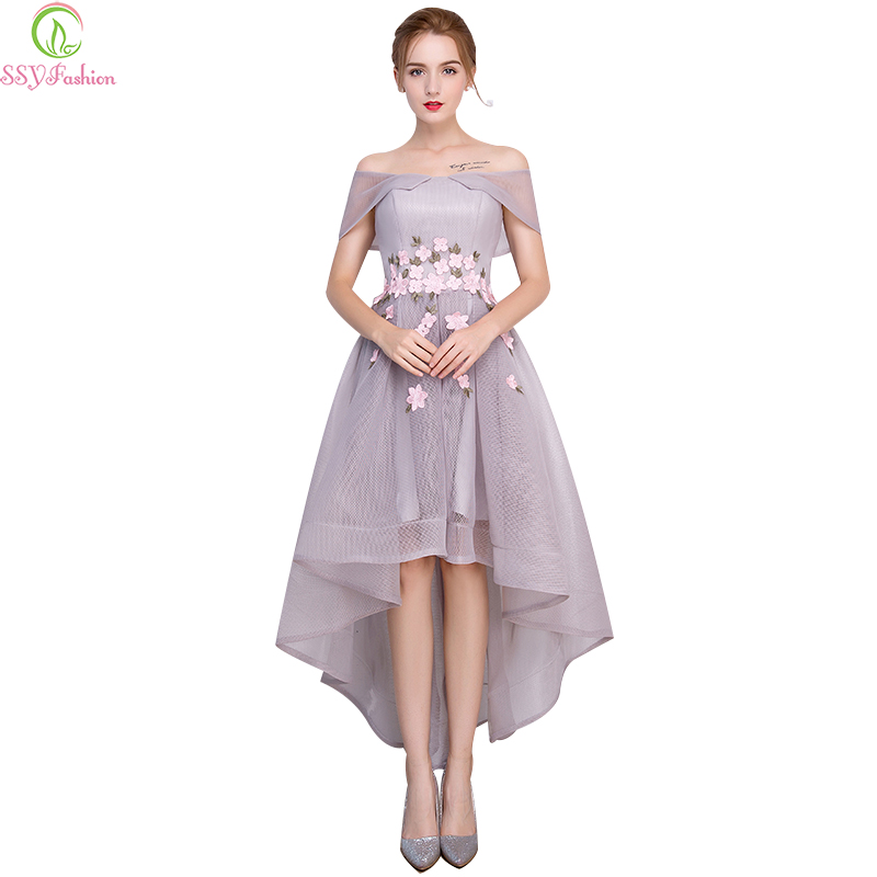 Robe De Soiree SSYFashion Elegant Grey Flower   Cocktail     Dresses   High/low Short Front Long Back Banquet Party Formal Gown custom
