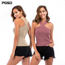 PGSD New Summer Pure colour simple fashion women clothes Crossed neck sling chest wiping sleeveless sexy slim vest female