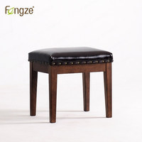 FengZe Furnishing FZ231 Oak Stool With Imitation Leather Seat Make Up Chair Pinao Seat Country Style